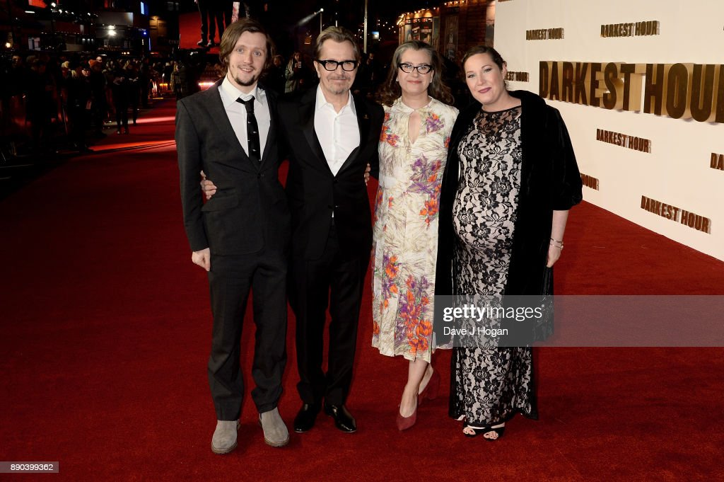 Alfie Oldman, Gary Oldman, Gisele Schmidt and guest attend the 'Darkest Hour' UK premiere at Odeon Leicester Square on December 11, 2017 in London, England.