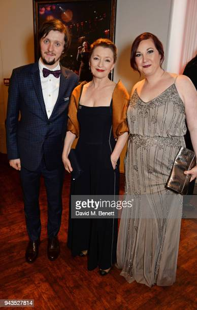 Alfie Oldman Lesley Manville and Lucy Wheatley attend The Olivier Awards with Mastercard at Royal Albert Hall on April 8 2018 in London England
