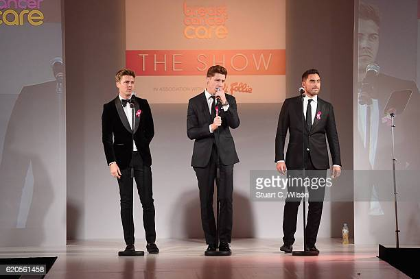 Alfie Palmer Andrew Bourn and Sean Ryder Wolf of Jack Pack perform on stage at the Breast Cancer Care London Fashion Show in association with Folli...