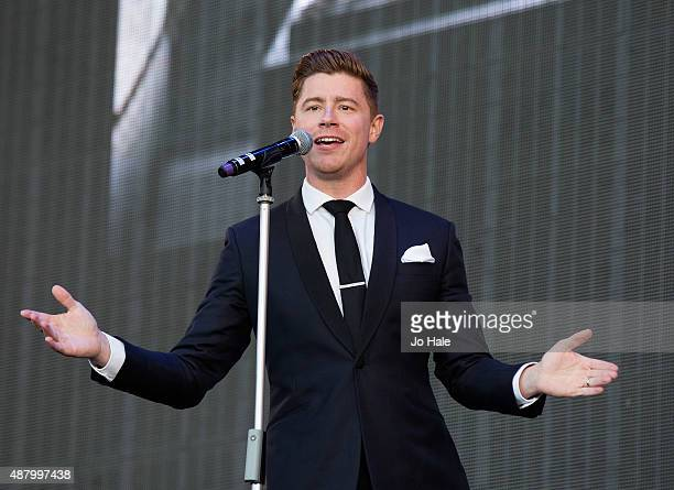 Alfie Palmer of Jack Pack performs on stage at BBC Proms in the Park at Hyde Park on September 12 2015 in London England