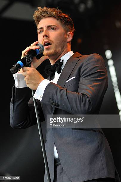 Alfie Palmer of Jack Pack performs on stage at Kew Gardens on July 8 2015 in London England