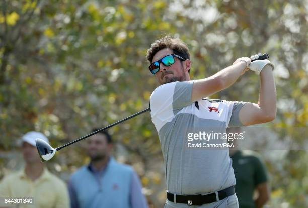 Alfie Plant of England and the Great Britain and Ireland team in action during the final day of practice for the 2017 Walker Cup at the LA Country...
