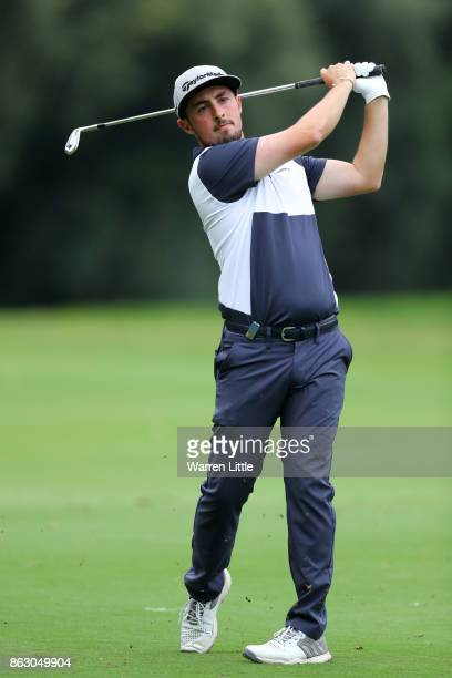 Alfie Plant of England hits his second shot on the 18th hole during day one of the Andalucia Valderrama Masters at Real Club Valderrama on October 19...