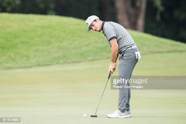 Alfie Plant of England plays a shot during round one of the UBS Hong Kong Open at The Hong Kong Golf Club on November 23 2017 in Hong Kong Hong Kong
