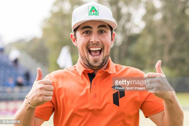 Alfie Plant of England reacts during round two of the UBS Hong Kong Open at The Hong Kong Golf Club on November 24 2017 in Hong Kong Hong Kong