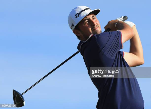 Alfie Plant of England tees off on the 18th during day one of the 2017 Portugal Masters at Dom Pedro Victoria Golf Club on September 21 2017 in...