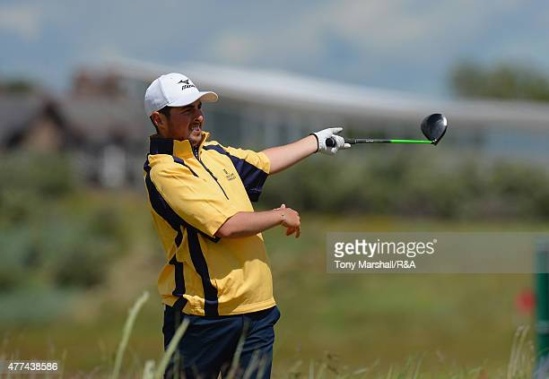 Alfie Plant of Sundridge Park plays his first shot on the 2nd tee during The Amateur Championship 2015 Day Three at Carnoustie Golf Club on June 17...