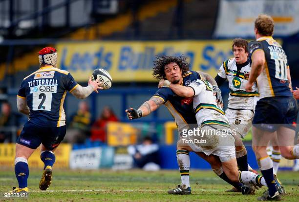 Alfie To'oala of Leeds Carnegie passes the ball to Andy Titterrell during the Guinness Premiership match between Leeds Carnegie and Northampton...