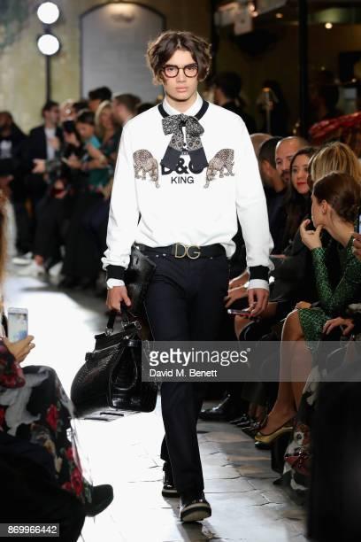 Alfie walks the Dolce Gabbana Italian Christmas catwalk show at Harrods on November 2 2017 in London England