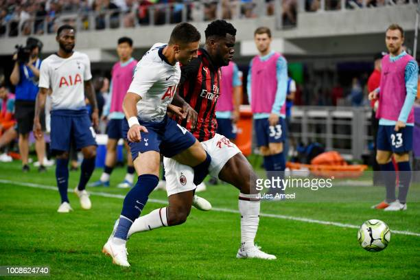 Alfie Whiteman of the Tottenham Hotspur and Franck Kessié of AC Milan vie for the ball during the first half of a International Champions Cup 2018...