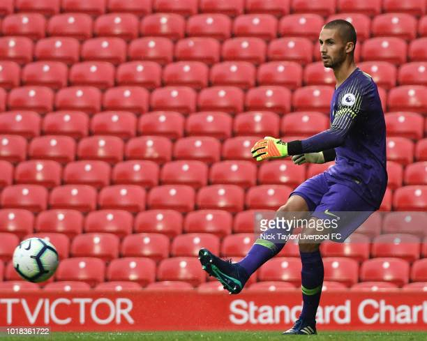 Alfie Whiteman of Tottenham Hotspur in action during the Liverpool v Tottenham Hotspur PL2 game at Anfield on August 17 2018 in Liverpool England