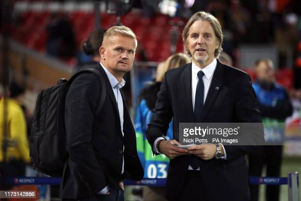 AlfInge Haland and Jan Aage Fjortoft before the UEFA Champions League Group E match at Anfield Liverpool