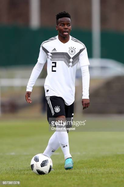 Alfons Amade of Germany runs with the ball during the UEFA Under19 European Championship Qualifier match between Germany and Norway at Stadion Grosse...