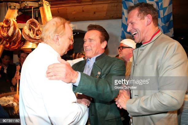 Alfons Schuhbeck Arnold Schwarzenegger and Ralf Moeller during the 27th Weisswurstparty at Hotel Stanglwirt on January 19 2018 in Going near...