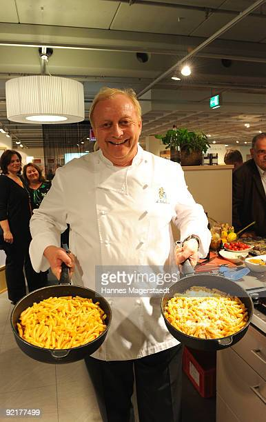 Alfons Schuhbeck cooks for the guest at the XXXLutz homecenter on October 21 2009 in Munich Germany