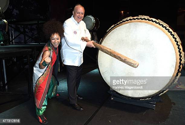 Alfons Schuhbeck poses with Yamato The Drummers of Japan at Circus Krone on June 16 2015 in Munich Germany