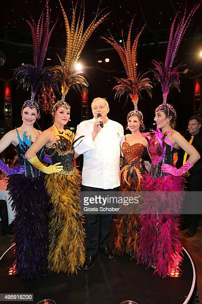 Alfons Schuhbeck sings during the VIP premiere of Schubecks Teatro's program 'Herzstuecke' at Spiegelzelt on November 5 2015 in Munich Germany