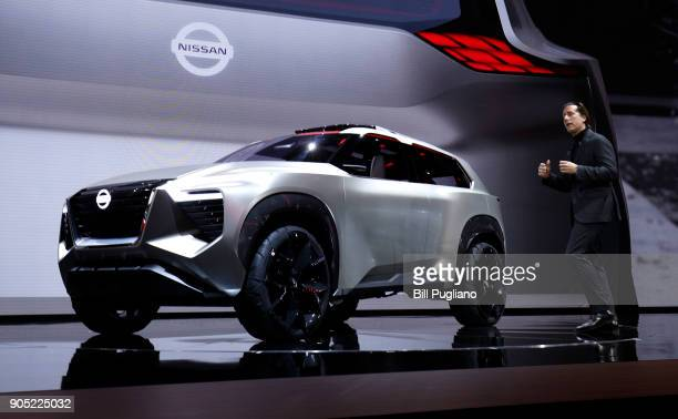 Alfonso Albaisa Nissan Senior Vice President for Global Design speaks about the new Nissan Xmotion crossover concept vehicle at its debut at the 2018...
