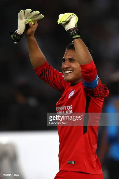 Alfonso Blanco of CF Pachuca celebrates victory after the FIFA Club World Cup UAE 2017 third place play off match between Al Jazira and CF Pachuca at...