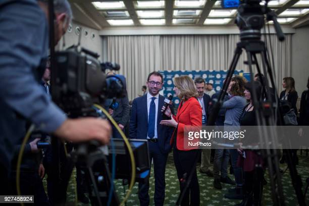 M5S Alfonso Bonafede being interviewed by a tv station after polling stations closure at the electoral headquarters of FiveStar Movement in Rome...