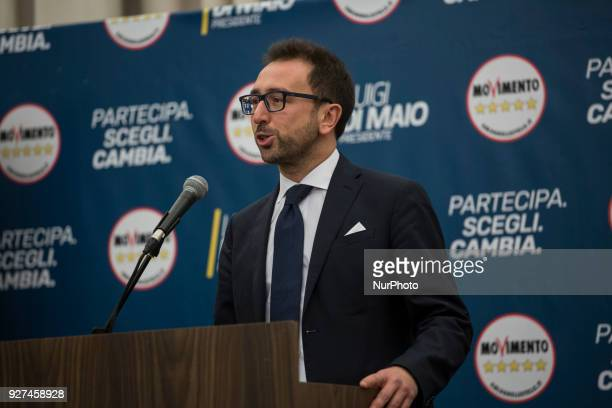 M5S Alfonso Bonafede holds a short press conference after polling stations closure at the electoral headquarters of FiveStar Movement in Rome Sunday...