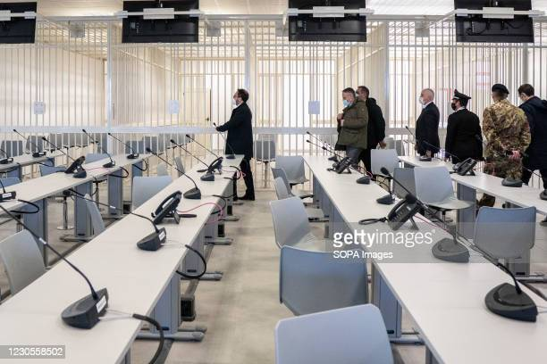 Alfonso Bonafede, Minister of Justice, leads as politicians leave the bunker room. Italian Minister of Justice Alfonso Bonafede and anti-mafia...