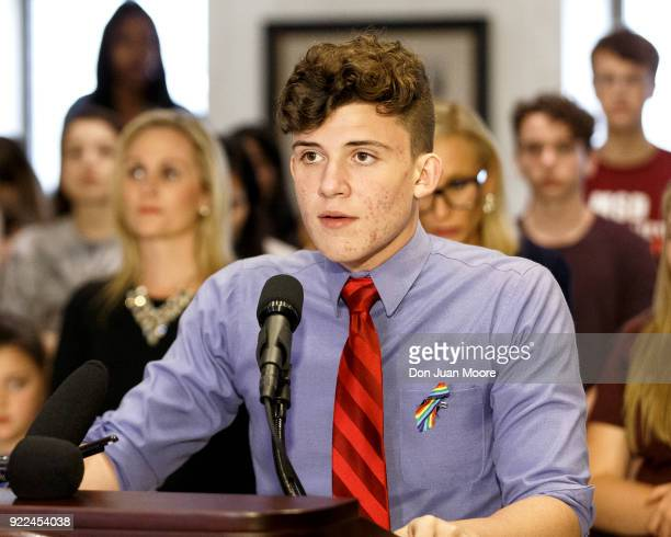 Alfonso Calderon a student from Marjory Stoneman Douglas High School speaks at the Florida State Capitol building on February 21 2018 in Tallahassee...