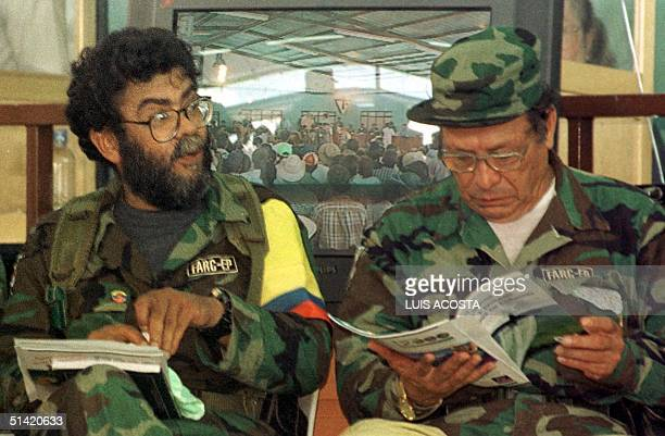 """Alfonso Cano and Manuel Marulanda """"Fixed Shot"""" , leaders of the Revolutionary Armed Forces of Colombia , participate in an international hearing of..."""