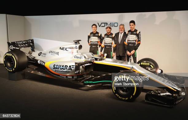 Alfonso Celis of Mexico and Sahara Force India Sergio Perez of Mexico and Sahara Force India Vijay Mallya Team Principal and Managing Director and...