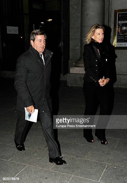Alfonso Cortina and Miriam Lapique are seen leaving 'Rigoletto' opera on November 30 2015 in Madrid Spain