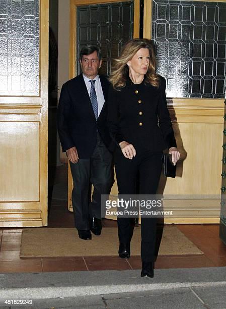 Alfonso Cortina and Miriam Lapique attend the funeral for the Countess of Ripalda and mother of Jaime de Marichalar, Concepcion Saenz de Tejada, at...