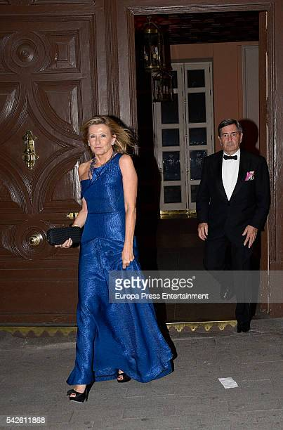 Alfonso Cortina and Miriam Lapique attend the interior decorator Michael S Smith's 52th birthday party at Fernan Nunez palace on May 21 2016 in...