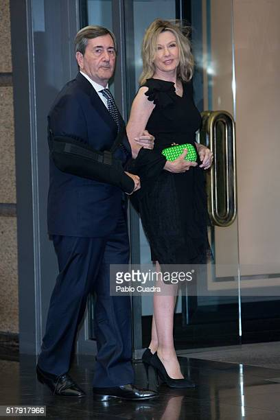 Alfonso Cortina and Miriam Lapique attend the Mario Vargas Llosa 80th birthday party at the Villa Magna hotel on March 28 2016 in Madrid Spain