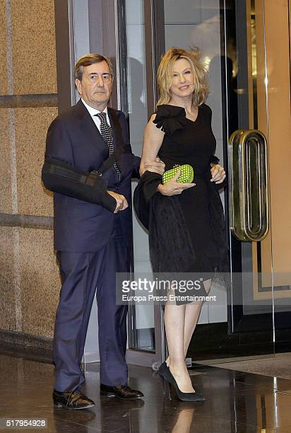 Alfonso Cortina and Miriam Lapique attend the Mario Vargas Llosa 80th birthday party on March 28 2016 in Madrid Spain
