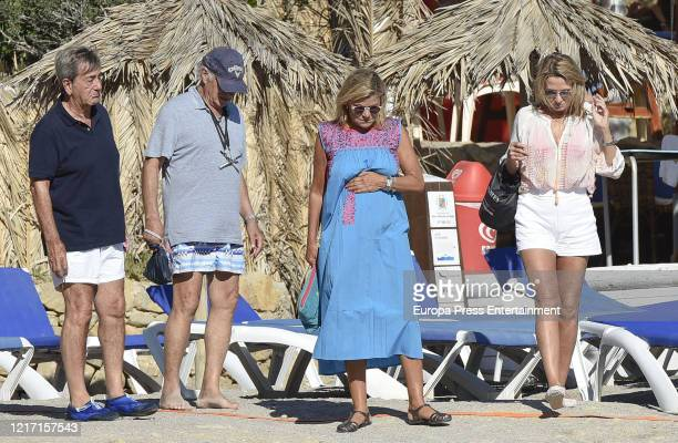 Alfonso Cortina, Carlos Goyanes, Cari Lapique and Miriam Lapique are seen on August 26, 2016 in Ibiza, Spain.