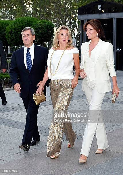 Alfonso Cortina, Miriam Lapique and Nuria Gonzalez attend the opening of the Royal Theatre new season on September 15, 2016 in Madrid, Spain.