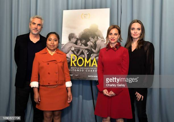"Alfonso Cuarón, Yalitza Aparicio, Angelina Jolie and Marina De Tavira attend the ""ROMA"" Tastemakers Screening and Reception at San Vicente Bungalows..."