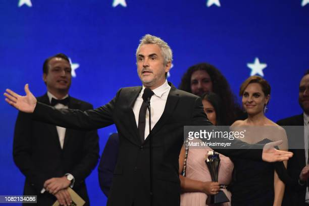 Alfonso Cuaron accepts the Best Picture award for 'Roma' onstage during the 24th annual Critics' Choice Awards at Barker Hangar on January 13, 2019...