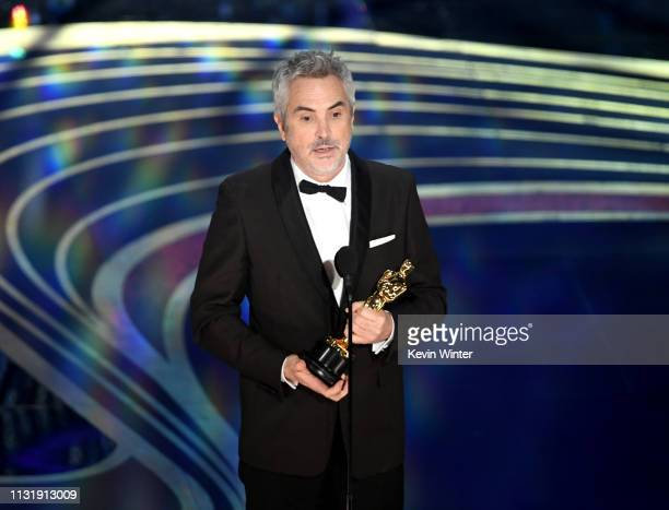 Alfonso Cuaron accepts the Cinematography award for 'Roma' onstage during the 91st Annual Academy Awards at Dolby Theatre on February 24 2019 in...