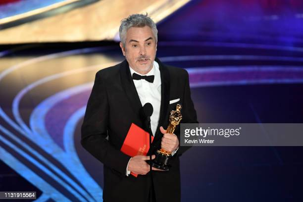 Alfonso Cuaron accepts the Foreign Language Film award for 'Roma' onstage during the 91st Annual Academy Awards at Dolby Theatre on February 24 2019...