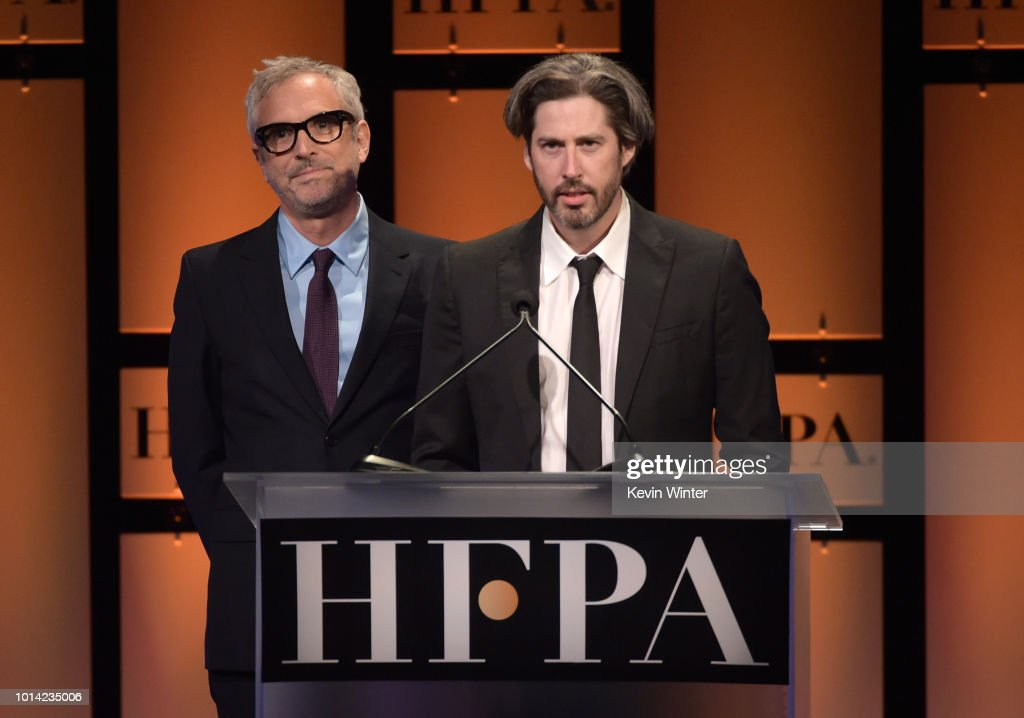 Alfonso Cuaron and (R) Jason Reitman onstage during the Hollywood Foreign Press Association's Grants Banquet at The Beverly Hilton Hotel on August 9, 2018 in Beverly Hills, California.