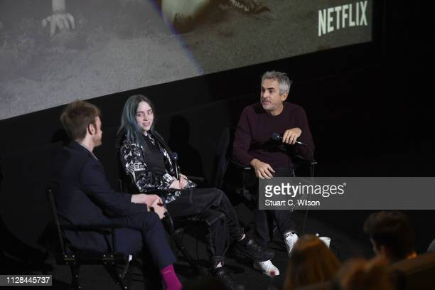 """Alfonso Cuaron Billie Ellish and Finneas O'Connell attend the ROMA """"Inspired by"""" Conversation at Curzon Bloomsbury on February 08 2019 in London..."""