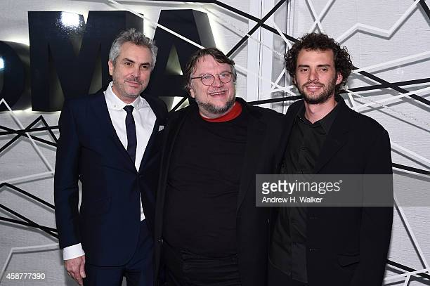 Alfonso Cuaron, Guillermo del Toro, and Jonas Cuaron attend The Museum of Modern Art's 2014 Film Benefit Honoring Alfonso Cuaron at The Museum of...