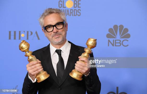 Alfonso Cuaron poses in the press room during the 76th Annual Golden Globe Awards at The Beverly Hilton Hotel on January 6 2019 in Beverly Hills...