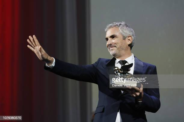 Alfonso Cuaron receives the Golden Lion for Best Film Award for for the Netflix movie 'Roma' during the Award Ceremony during the 75th Venice Film...