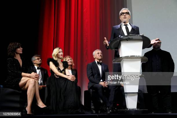 Alfonso Cuaron receives the Golden Lion for Best Film Award for 'Roma' at the Award Ceremony during the 75th Venice Film Festival at Sala Grande on...