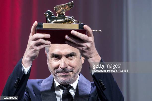 Alfonso Cuaron receives the Golden Lion for best movie for Roma during the Award Ceremony during the 75th Venice Film Festival at Sala Grande on...
