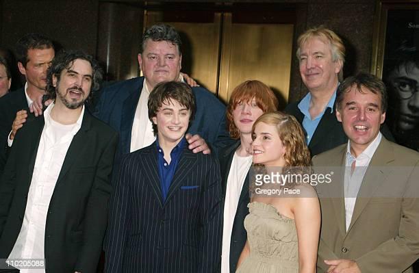 Alfonso Cuaron, Robbie Coltrane, Daniel Radcliffe, Rupert Grint, Alan Rickman, Emma Watson and Chris Columbus
