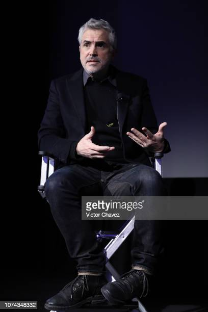 Alfonso Cuaron speaks during the premiere of the Netflix movie Roma and QA at Cineteca Nacional on December 18 2018 in Mexico City Mexico
