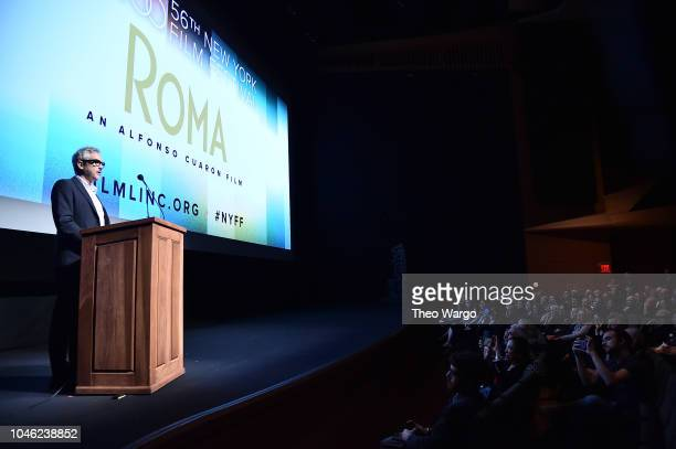 Alfonso Cuaron speaks onstage at the ROMA premiere during the 56th New York Film Festival at Alice Tully Hall Lincoln Center on October 5 2018 in New...